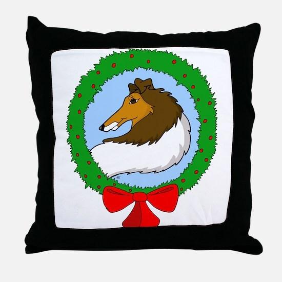 Rough Coat Collie Christmas Throw Pillow
