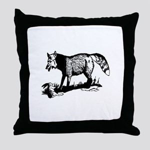 Fox with prey Throw Pillow