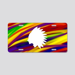 Gay Indian rainbow art Aluminum License Plate