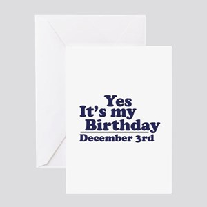 December 3rd Birthday Greeting Card