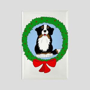 Bernese Mountain Dog Christmas Rectangle Magnet