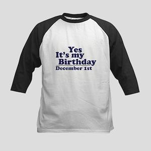 December 1st Birthday Kids Baseball Jersey