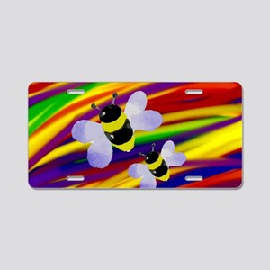 Gay bumble bees rainbow art Aluminum License Plate