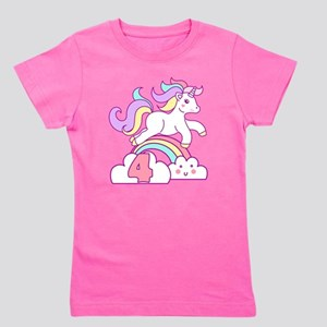 Unicorn 4th Birthday Girl's Tee