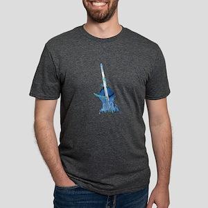 upright bass and hands blu Mens Tri-blend T-Shirt