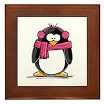 Pink Earmuff Penguin Framed Tile