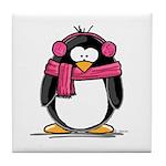 Pink Earmuff Penguin Tile Coaster