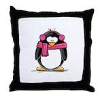 Pink Earmuff Penguin Throw Pillow