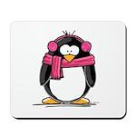 Pink Earmuff Penguin Mousepad