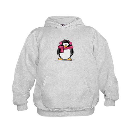 Pink Earmuff Penguin Kids Hoodie