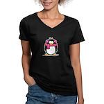 Pink Earmuff Penguin Women's V-Neck Dark T-Shirt