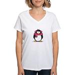 Pink Earmuff Penguin Women's V-Neck T-Shirt