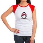 Pink Earmuff Penguin Women's Cap Sleeve T-Shirt