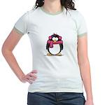 Pink Earmuff Penguin Jr. Ringer T-Shirt