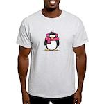 Pink Earmuff Penguin Light T-Shirt