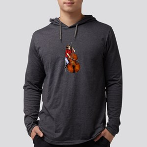 Girl playing orchestra bass red shirt Mens Hooded