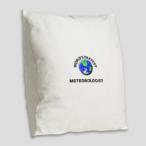 World's Okayest Meteorologist Burlap Throw Pillow