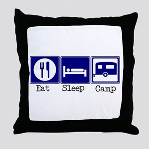 Eat, Sleep, Camp (Travel Trai Throw Pillow