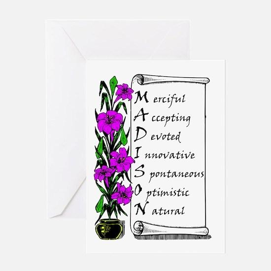Madison Acrostic Poem (Scroll and Purple Flowers)
