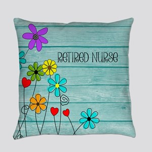 Retired Nurse Floral Everyday Pillow