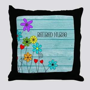 Retired Nurse Floral Throw Pillow