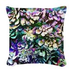 Colorful Abstract Plants Woven Throw Pillow