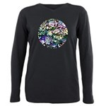 Colorful Abstract Plants Plus Size Long Sleeve Tee