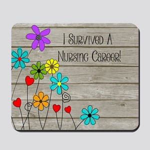 Retired Nurse Floral Brown Mousepad
