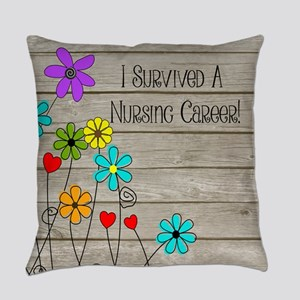 Retired Nurse Floral Brown Everyday Pillow