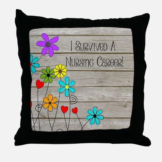 Retired Nurse Floral Brown Throw Pillow
