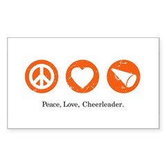 PEACE. LOVE. CHEERLEADING. Rectangle Decal