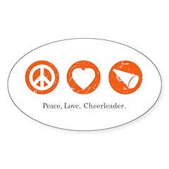 PEACE. LOVE. CHEERLEADING. Oval Decal