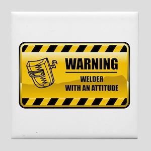 Warning Welder Tile Coaster