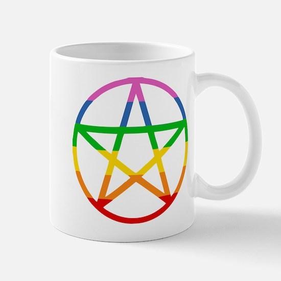 RAINBOW PENTAGRAM 5 POINTED STAR Mugs