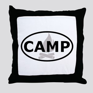 Camp Oval Sticker Throw Pillow