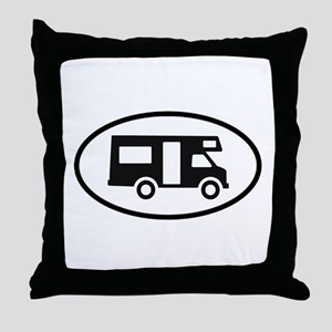 RV Oval Sticker Throw Pillow