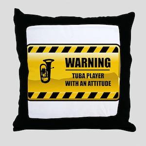 Warning Tuba Player Throw Pillow