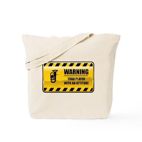 Warning Tuba Player Tote Bag