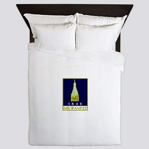 Milwaukee City Hall logo - blue Queen Duvet