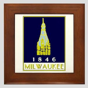 Milwaukee City Hall logo - blue Framed Tile
