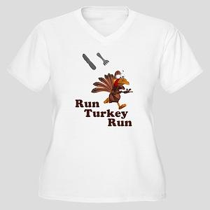 Run Turkey Run Thanksgiving Women's Plus Size V-Ne