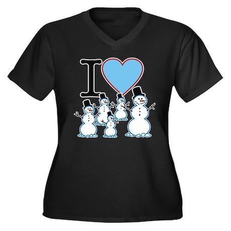I Love Snowmen Women's Plus Size V-Neck Dark T-Shi