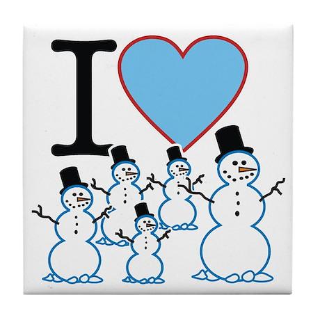 I Love Snowmen Tile Coaster