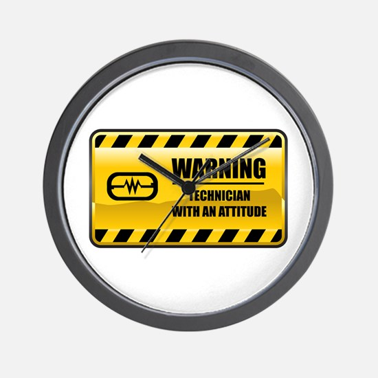 Warning Technician Wall Clock
