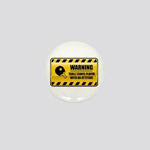 Warning Table Tennis Player Mini Button