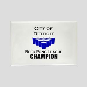City of Detroit Beer Pong Lea Rectangle Magnet