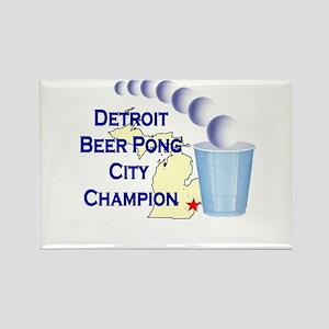 Detroit Beer Pong League Cham Rectangle Magnet