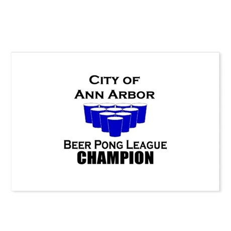 City of Ann Arbor Beer Pong L Postcards (Package o