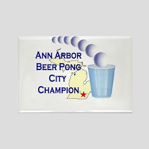 Ann Arbor Beer Pong City Cham Rectangle Magnet