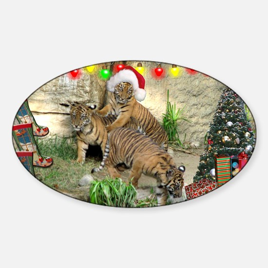 Helaine's Tiger Cubs' Xmas Sticker (Oval)